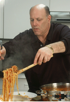Frankie the Butcher Cooking Pasta